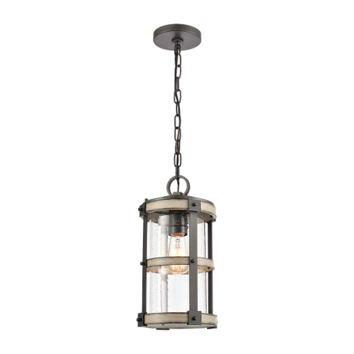 "15"" ELK Lighting Crenshaw 1-Light Outdoor Pendant in Anvil Iron and Distressed Antique Graywood with Seedy Glass, Transitional - 1"