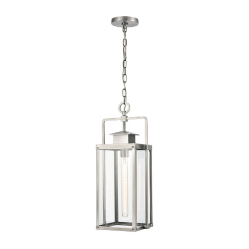 "22"" ELK Lighting Crested Butte 1-Light Outdoor Pendant in Antique Brushed Aluminum with Clear Glass Enclosure, Transitional - 1"