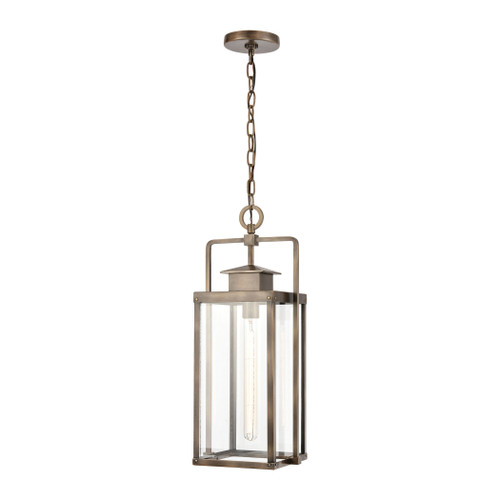 "22"" ELK Lighting Crested Butte 1-Light Outdoor Pendant in Vintage Brass with Clear Glass Enclosure, Transitional - 1"