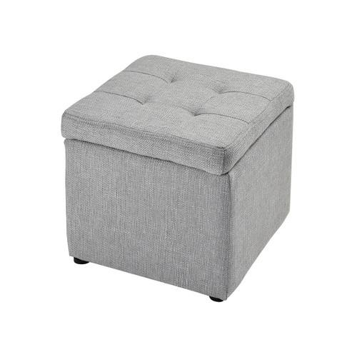 "14"" Stein World Mckenna Grey Linen Ottoman, Transitional - 1"