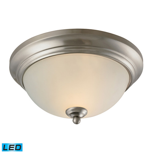 """11"""" Thomas Lighting Huntington 2-Light Flush Mount in Brushed Nickel with Etched White Glass - LED, Traditional - 1"""