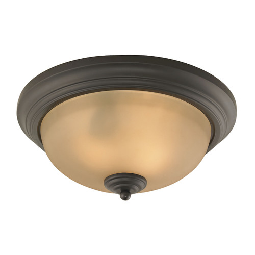 "13"" Thomas Lighting Huntington 2-Light Ceiling Lamp in Oil Rubbed Bronze with Amber Glass, Traditional - 1"
