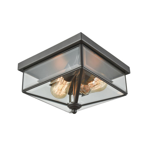 """10"""" Thomas Lighting Lankford 2-Light Outdoor Flush Mount in Oil Rubbed Bronze with Clear Glass, Traditional - 1"""