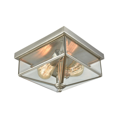 """10"""" Thomas Lighting Lankford 2-Light Outdoor Flush Mount in Satin Nickel with Clear Glass, Traditional - 1"""