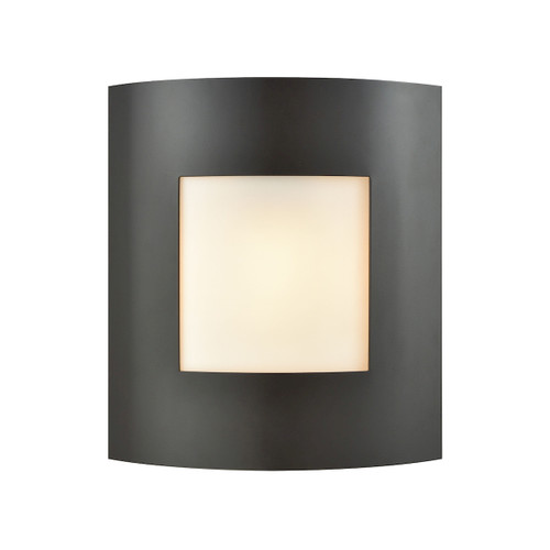 "10"" Thomas Lighting Bella 1-Light Outdoor Wall Sconce in Oil Rubbed Bronze with White Glass, Modern / Contemporary - 1"