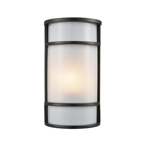 "11"" Thomas Lighting Bella 1-Light Outdoor Wall Sconce in Oil Rubbed Bronze with a White Acrylic Diffuser, Modern / Contemporary - 1"