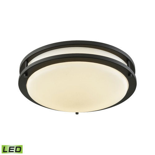 """11"""" Thomas Lighting Clarion LED Flush Mount in Oil Rubbed Bronze with a White Glass Diffuser, Modern / Contemporary - 1"""