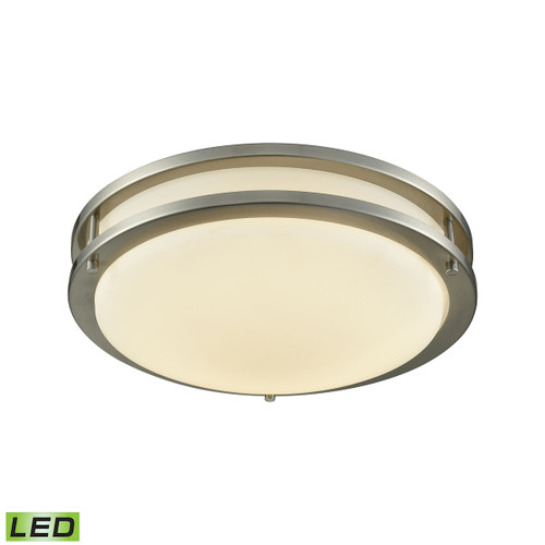 """11"""" Thomas Lighting Clarion LED Flush Mount in Brushed Nickel with a White Glass Diffuser, Modern / Contemporary - 1"""