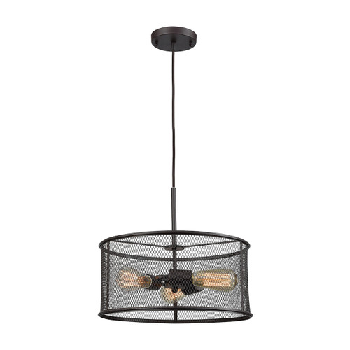"""15"""" Thomas Lighting Williamsport 3-Light Chandelier in Oil Rubbed Bronze with Black Metal Shade, Transitional - 1"""