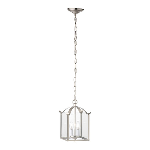 """12"""" Thomas Lighting Whitmore 2-Light Chandelier in Brushed Nickel, Traditional - 1"""