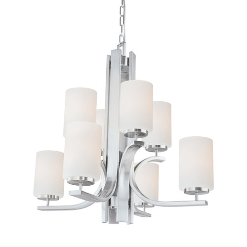 "27"" Thomas Lighting Pendenza 8-Light Chandelier in Brushed Nickel, Transitional - 1"