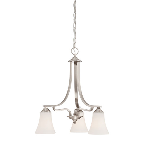 "20"" Thomas Lighting Treme 3-Light Chandelier in Brushed Nickel, Traditional - 1"