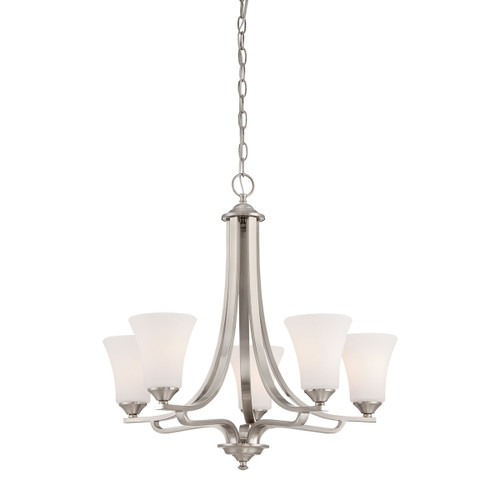 "25"" Thomas Lighting Treme 5-Light Chandelier in Brushed Nickel, Traditional - 1"