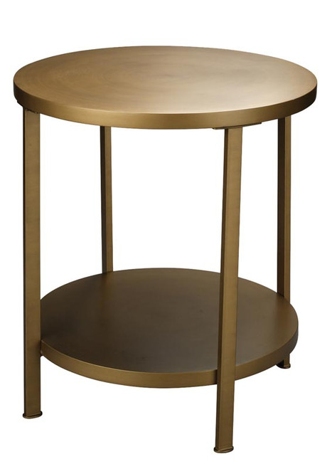 Alloy Side Table in Antique Brass Metal