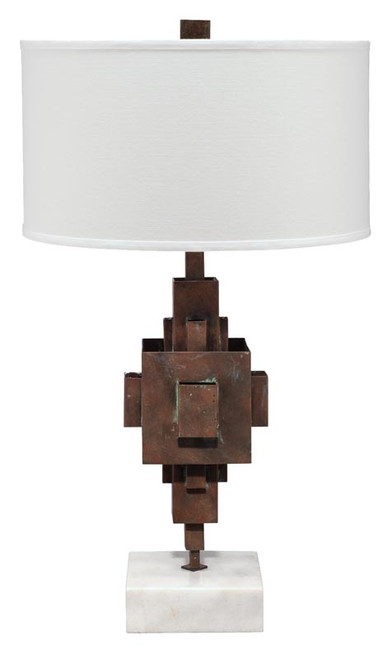 Apprentice Table Lamp in Rust Patina Metal on Marble