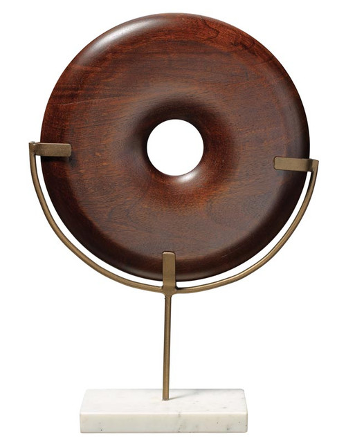 Archie Round Wood Object in Dark Wood and White Marble