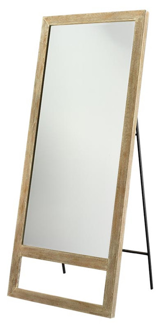 Austere Leaning Floor Mirror in Grey Washed Wood