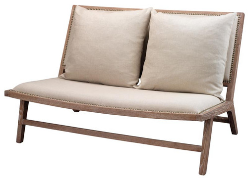 Baldwin Settee in Off White Linen & Grey Washed Wood