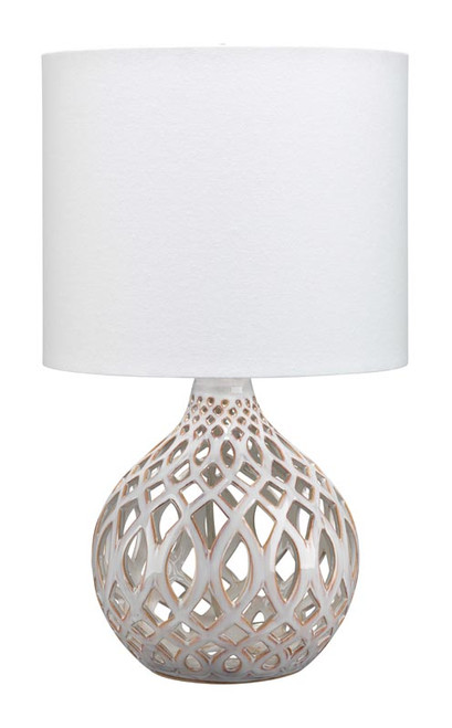 Fretwork Table Lamp in Cream Ceramic