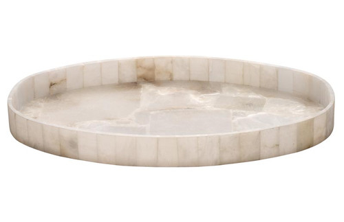 Genevieve Oval Alabaster Tray in Alabaster