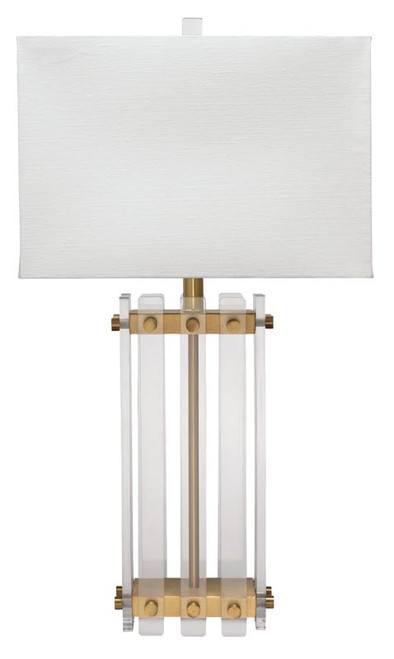 Grammercy Table Lamp in Acrylic & Antique Brass Metal