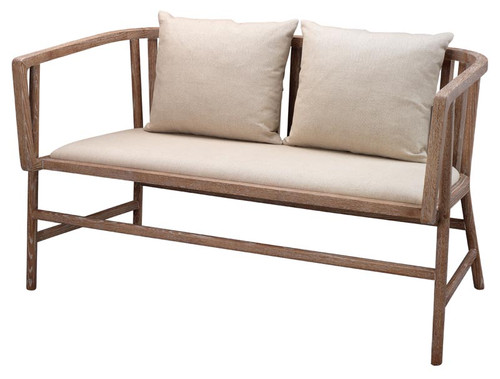 Grayson Settee in Off White Linen & Grey Washed Wood