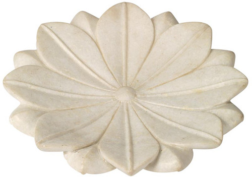 Large Lotus Plate in White Marble