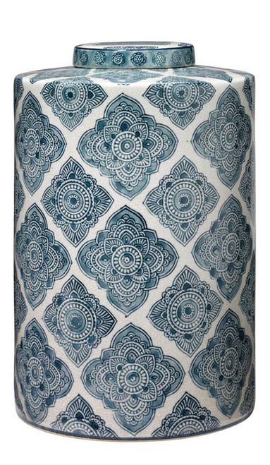 Large Oran Canister in Blue and White Ceramic