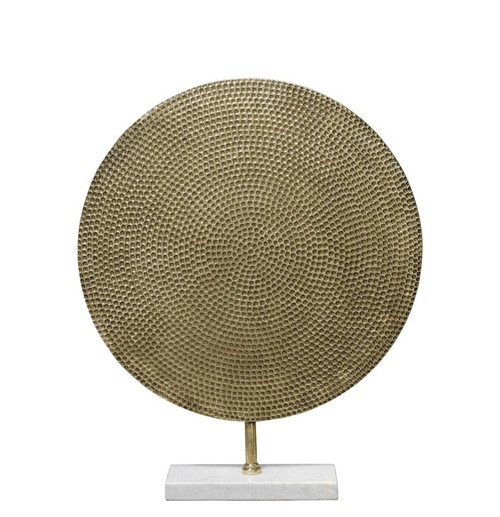 Nile Medium Sculpture in Antique Brass and White Marble