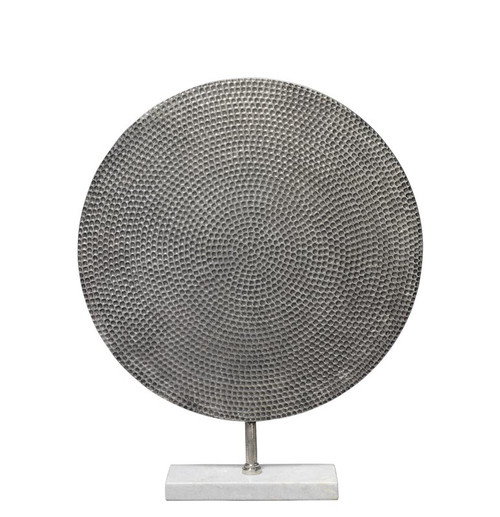 Nile Medium Sculpture in Antique Silver and White Marble
