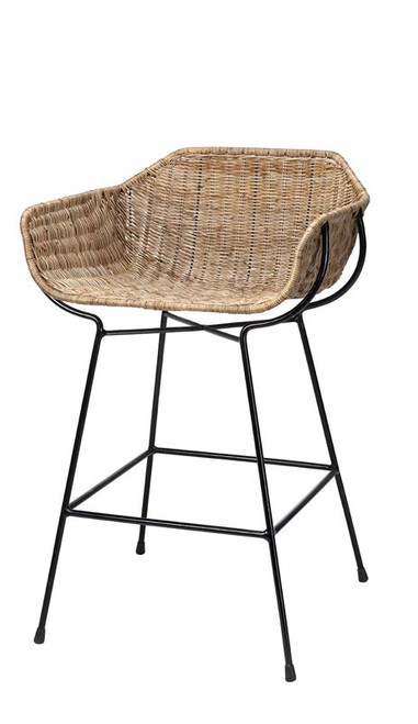 Nusa Counter Stool in Natural Rattan & Black Steel
