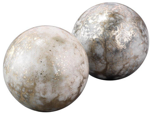 Orb Bookends in Silver and Gold (set of 2)