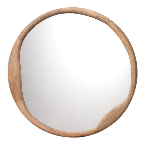 Organic Round Mirror in Natural Wood