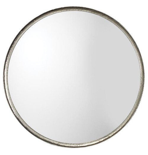Refined Round Mirror in Silver Leaf Metal