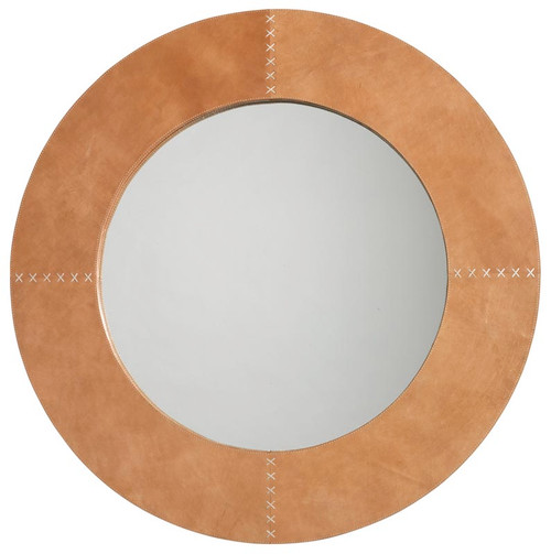 Round Cross Stitch Mirror in Buff Leather