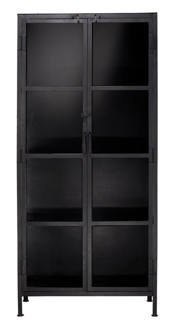 Union Tall Curio Cabinet in Black Iron & Clear Glass