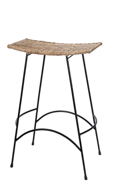 Wing Bar Stool in Natural Rattan & Black Steel