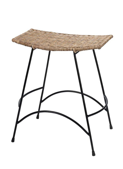 Wing Counter Stool in Natural Rattan & Black Steel