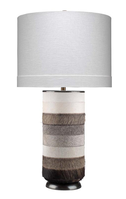 Winslow Table Lamp in White, Light Grey & Dark Grey Hide