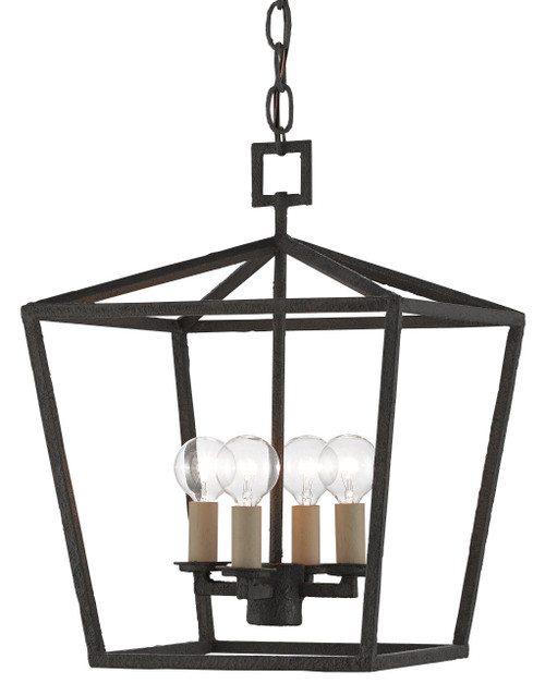 "16"" Currey and Company Denison Black Small Lantern - 1"