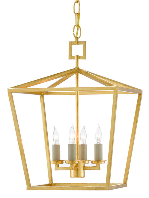 "16"" Currey and Company Denison Gold Small Lantern - 1"