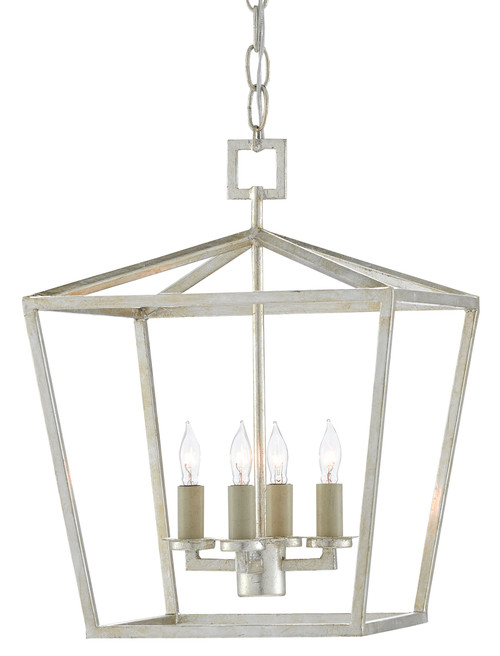 "16"" Currey and Company Denison Silver Small Lantern - 1"