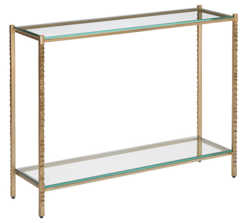 "40"" Currey and Company Logan Gold Console Table - 1"