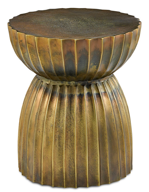 """19"""" Currey and Company Rasi Antique Brass Table/Stool - 1"""