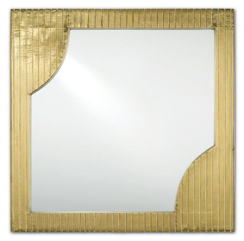 "24"" Currey and Company Morneau Brass Square Mirror - 1"