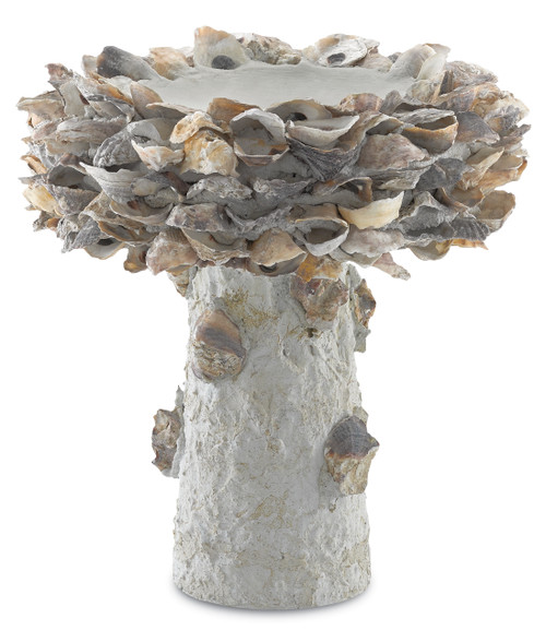 "14"" Currey and Company Oyster Shell Small Bird Bath - 1"