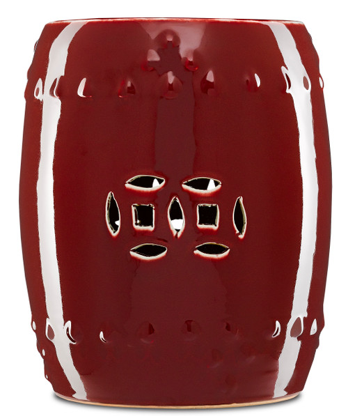 "15"" Currey and Company Oxblood Garden Stool - 1"