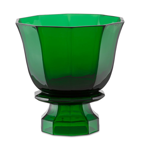 "10"" Currey and Company Columbia Emerald Footed Vase - 1"