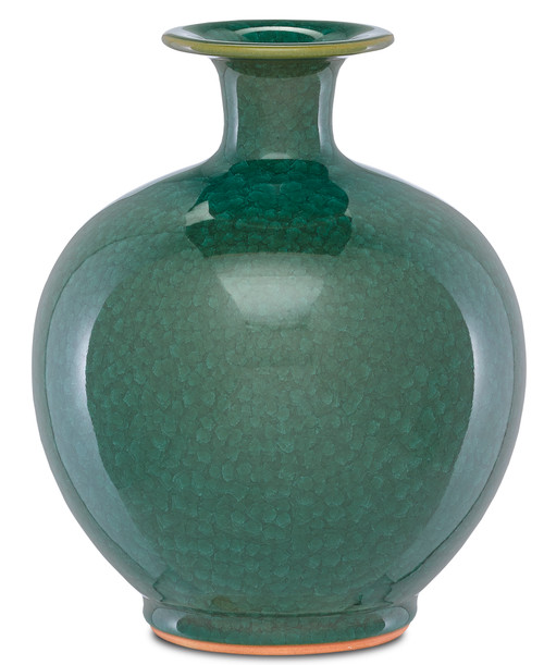 "12"" Currey and Company Kara Large Crystalized Green Vase - 1"