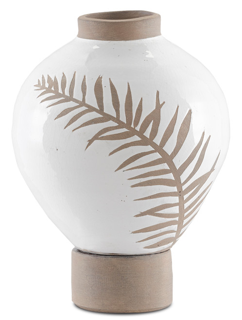"11"" Currey and Company Fern Small White Vase - 1"